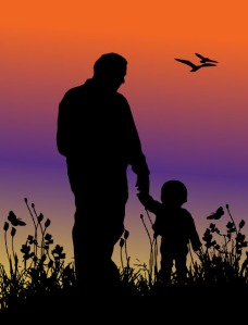 Father and child sunset silhouette
