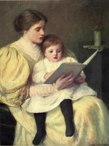 Mother and Child Reading - by Frederick Warren Freer