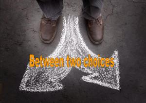 between two choices- Karina's thought