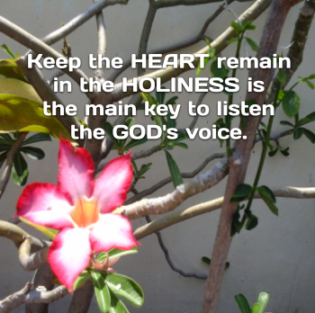 Keep the heart remain in the holiness is the main key to listen the GOD's voice